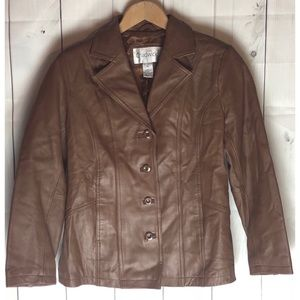 Chadwick's Brown Leather Jacket Size PS